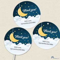 """Over the Moon Printable Party Images, Baby Shower, Editable PDF Instant Download 2""""x2"""" seals, stickers, tags, buttons, cupcake toppers by StarStreamPrintables on Etsy Irish Symbols, Golden Star, Thank You Stickers, Baby Sprinkle, Over The Moon, Printing Labels, Party Printables, As You Like, Cupcake Toppers"""