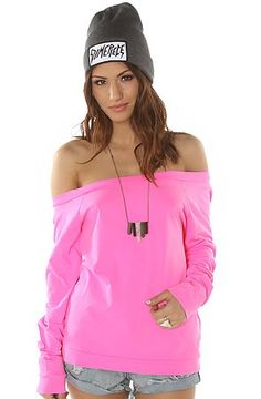 Amazon.com: Volcom Women's The Sunbleached Off The Shoulder Raglan Small Pink: Clothing