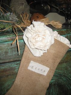 Rosette Girl Stocking  burlap & muslin by theBurlapBoutique, $30.00