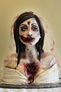 Very cool Zombie Bride shot in the heart and head nerd cake for geeks