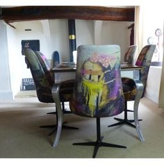 Luxury Vintage Mona Lisa Home Decor Furniture Fabric Dining Room Chair Designed Upcycled in High Quality Printed Material for Fabric Dining Room Chairs, Vintage Dining Chairs, Industrial Dining Chairs, Leather Dining Room Chairs, Retro Furniture, Home Decor Furniture, Restaurant Seating, Luxury Dining Room, Chair Design