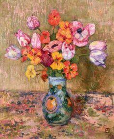 ❀ Blooming Brushwork ❀ - garden and still life flower paintings - Theo van Rysselberghe   Tulips and Nasturtiums