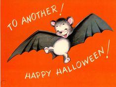 Vintage Norcross Rust Craft Halloween Greeting Card With Bat 806 2 Halloween Ii, Halloween Prints, Halloween House, Vintage Halloween, Happy Halloween, Halloween Ideas, Halloween Greetings, Window Art, Vintage Cards