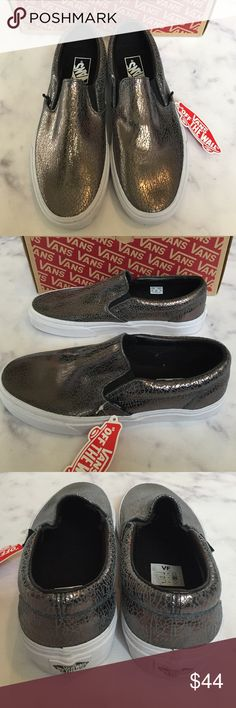 🎉Flash Sale🍾 VANs NWB Cracked Metallic Slip-Ons super fun new with box cracked metallic gunmetal slip-Ons. size 9 women's. ***no trades***. please note these are new with box but style printed on box does not match style of shoes.   6J1439. ***price FIRM unless bundled*** Vans Shoes Athletic Shoes