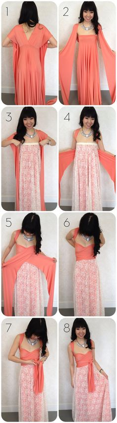 how to add lace to a convertible dress; Patterns/instructions on how to sew an infinity dress at: http://sewlikemymom.com/little-red-infinity-dress-tutorial/ | http://seecatecreate.com/the-infinity-wrap-dress-this-will-blow-your-mind/ | http://www.projectwedding.com/ideas/127629/infinity-convertible-or-wrap-twist-dress