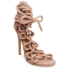 Women's Wild Pair Missme Knotted Tie Front Gladiator Sandals - Blush 6.5