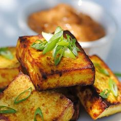 tofu satay with peanut dipping sauce