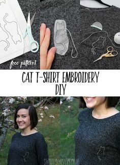 Crafty cat lovers rejoice - there is a free cat hand embroidery pattern and tutorial for how to stitch it on to a shirt! This t-shirt embroidery DIY is super easy with the magical material you'll print and stitch through, click through to see more. #embroidery #refashion #upcycle #sewing