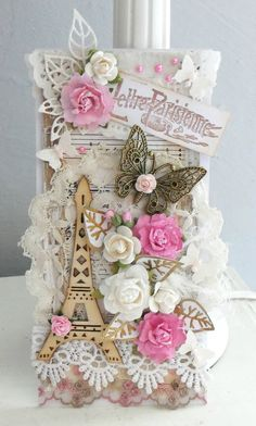 Love all the embellishments on this tag - Paris in the springtime. Card Tags, Gift Tags, Shabby Chic Embellishments, Paris Cards, Diy And Crafts, Paper Crafts, Creative Box, Shabby Chic Cards, Butterfly Crafts