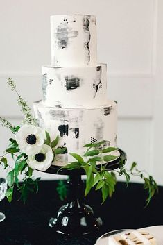 marble wedding cakes buttercream wedding cake, black and white wedding cake, marble cake Black And White Wedding Theme, Black Wedding Cakes, Floral Wedding Cakes, Cake Wedding, Floral Cake, Wedding Cupcakes, Modern Wedding Cakes, Wildflower Cake, Buttercream Wedding Cake