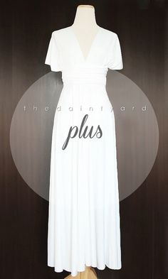 MAXI Plus Size White Bridesmaid Dress Convertible by thedaintyard