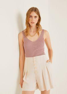 Knitted fabric Fabric with metallic thread Sleeveless Straps V-neck Casual Tops, Capsule Wardrobe, Ideias Fashion, Fashion Ideas, Mango, Short Dresses, Women Wear, V Neck, Tank Tops