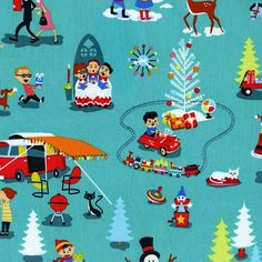 Michael Miller Retro Christmas Fabric by cottagefabrics on Etsy