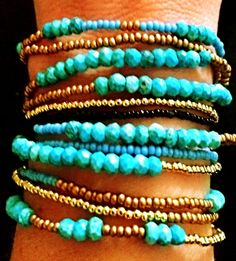 Turquoise Elizabeth44 wrap bracelet/necklace... a summer classic color!