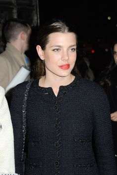 Charlotte Casiraghi - Laetitia Hallyday attending the 'Chanel The Little Black Jacket' exhibition launch at the Grand Palais in Paris