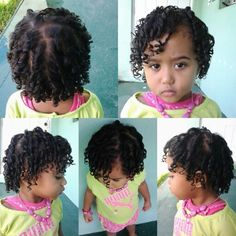 Mixed little girls hairstyle. Finger curls