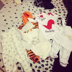 Some newborn/ 0-3 clothes Paige got before she was born. Sad to say some of this no longer fits :(