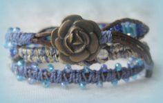 Blues genuine chocolate leather blue jasper by WhrapsodyWraps