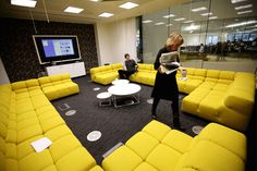Conference room. Rosalie sectionals and the Eclipses. Gaurdian offices - grey & yellow