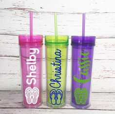 Personalized Flip Flop Skinny Tumblers - Beach Skinny Tumblers - Beach Getaway Tumblers - Beach Wedding Bridal Favors - Senior Trip Favors by SimplyGracefulDesign on Etsy