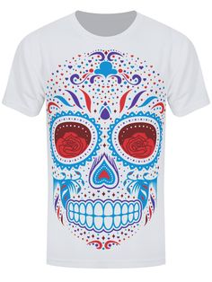 T-shirt Sugar Skull Sub Men's White Skull Tattoo Design, Dragon Tattoo Designs, Tribal Tattoo Designs, Sun Tattoos, Celtic Tattoos, Behind Ear Tattoos, Skinny Inspiration, Sugar Skull Girl, Mexican Holiday