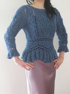 Ravelry: Project Gallery for #02 Peplum Pullover pattern by James Coviello