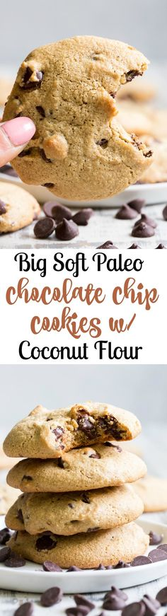 These big soft paleo chocolate chip cookies have the perfect chewy texture with a great nutty flavor thanks to tahini.  They're dairy-free, gluten-free, grain free and nut free as well.  Perfect for snacks and desserts, these cookies are thick and decadent yet healthy!