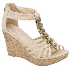 Top Moda Jewel Decorated Tstrap Back Closure Cork Wedge Sandals Ds6 Beige or Mustard 85 Beige *** See this great product.