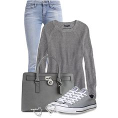 I am a t-shirt and jean gilr. Love the gray color Not the style of purse. A fashion look from February 2015 featuring American Eagle Outfitters sweaters, Levi's jeans and Converse sneakers. Browse and shop related looks. Converse Outfits, Jeans And Converse, Converse Sneakers, Gray Converse, Wedge Sneakers, Look Fashion, Fashion Outfits, Womens Fashion, High Fashion