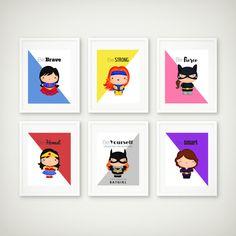 Superhero Print Set, Superhero Wall Art, Girls Room, Superhero Art, Supergirl Print, Batgirl, Cat Woman, Wonder Woman, Instant Download