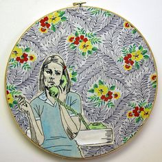 Hand Embroidery Margot on the phone Smoking by luckyjackson, $80.00
