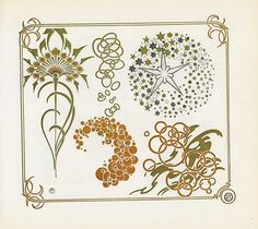 Art Nouveau Dandelion Ornaments by Alfons Mucha.- Graphic Art deco Period Illustrations, Design Decoration with leaves, plants tendrils, flowers, floral. Graphics by Alfons Mucha. Motifs Art Nouveau, Design Art Nouveau, Motif Art Deco, Art Nouveau Pattern, Art Deco Decor, Decoration, Alphonse Mucha, Art Nouveau Tattoo, Old Book Illustrations