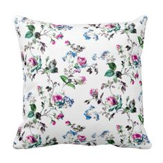 Shop Roses - Pink Roses & Blue Flowers Over White Throw Pillow created by Phasion. Unique Flowers, Blue Flowers, Pink Roses, Floral Throws, White Throw Pillows, Sentimental Gifts, Custom Pillows, Wedding Gifts, Wedding Flowers