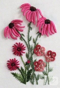 Wonderful Ribbon Embroidery Flowers by Hand Ideas. Enchanting Ribbon Embroidery Flowers by Hand Ideas. Brazilian Embroidery Stitches, Learn Embroidery, Rose Embroidery, Silk Ribbon Embroidery, Hand Embroidery Patterns, Embroidery Kits, Cross Stitch Embroidery, Machine Embroidery, Embroidery Supplies