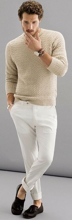 Man white trousers chinos | How to style white colour clothing | Menswear daily stylish advice | Spring fashion trends 2016 mensfashion