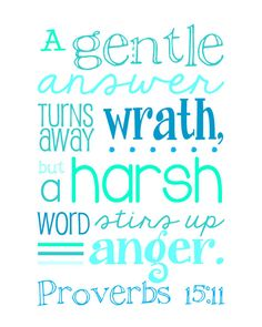 *A gentle answer turns away wrath, but a harsh word stirs up anger. Proverbs 15:1. Bible verse. Quote
