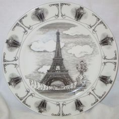 Black on White 10.5\  Dinner Plate Eiffel Tower Image w Old Fashioned Trim #222FifthPTSInternational & 12pc Ciroa Eiffel Tower Dinner Salad/Accent Plates Soup Bowl Set ...