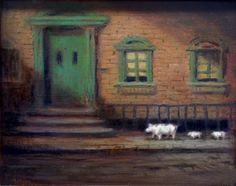 Three Pigs is an original oil painting by Richard Lithgow featuring a momma pig and two piglets walking down the streets of New York City.