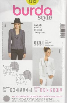 Burda Style 7212 Sewing Pattern Misses' Jackets by OhSewWorthIt