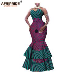 2018 african print maxi dress for women AFRIPRIDE tailor made strapless mermaid women cotton formal dress 2 layers hem 1 African Formal Dress, Best African Dresses, Latest African Fashion Dresses, African Print Dresses, African Attire, African Fashion Designers, African Fashion Ankara, African Print Fashion, Africa Fashion