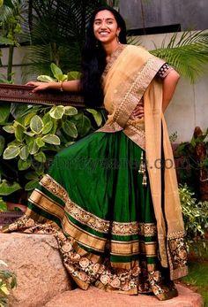 green lehenga saree - Google Search