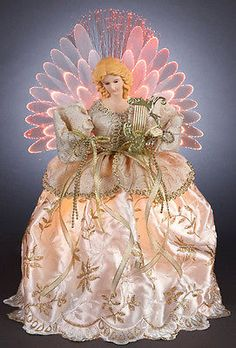 "Gold and Ivory LED Fiber Optic 14"" Christmas Angel Tree Topper Porcelain Head"