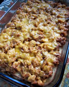 BBQ Chicken Cornbread Bake   (Printable Recipe)         1 cup frozen corn kernels, thawed   1 can creamed corn   1 cup sour cream   1 box Glory or Jiffy cornbread mix   2 eggs     3 cups cooked chopped chicken   1 cup BBQ sauce   1 cup cheddar cheese, shredded     Preheat oven to 350.  Lightly spray a 9x13-inch pan with cooking spray.     Mix together corn, creamed corn, sour cream, cornbread mix and eggs.  Pour into prepared pan.  Bake 30 minutes.     Toss chicken with BBQ sauce.