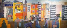 CONSTRUCTION WORKERS (2013) Conceived by SAM NHLENGETHWA and produced by SPIER ARCHITECTURAL ARTS  Ceramic relief with contemporary style mosaic elements in the direct method Triptych, 2060 x 1650mm; 2060 x 1945mm; 2060 x 1275m
