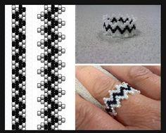 Bague en perle zigzag ,noir et blanc .