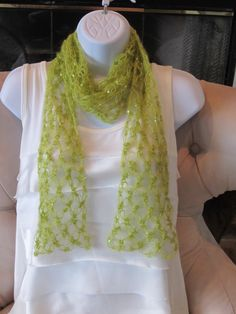 SEXY SUMMER SCARF Crochet  Love Knot Scarf in by Bluetulipgifts.   I can totally make this... so I will.  It'll just be a little interesting on how to get the beads/sequins on there.  But I can do it!