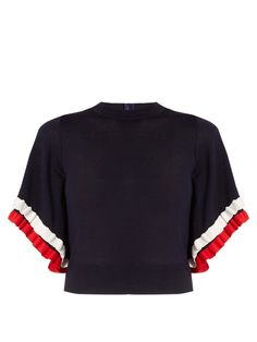 ADAM LIPPES Ruffle-Trimmed Short-Sleeved Wool Sweater. #adamlippes #cloth #sweater