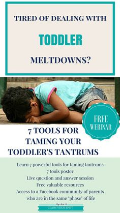 Toddler tantrums can be hard to handle. These colossal meltdowns are unpleasant for parents and children. Big emotions are exerted and are typically accompanied by yelling, crying, hitting or some kind of physical outburst. Toddler tantrums can be both frustrating and embarrassing for parents. Thankfully, there is a solution. Click here to discover how to handle toddler tantrums with the FREE parenting webinar, 7 powerful tools for taming toddler's tantrums.
