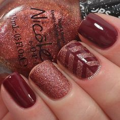 Fall nails...although I would like a chevron pattern better for middle nail…