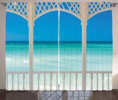 Beach Theme Decor Curtains by Ambesonne Coastal Decor Maldives Tropic Ocean Cuban Shore Photo Living Room Bedroom Window Drapes 2 Panel Set 108 W X 63 L Inches Sky Blue Turquoise and White -- BEST VALUE BUY on Amazon #Curtains